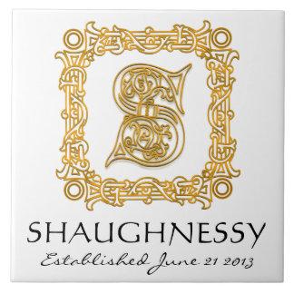 """S"" Surname Wedding Anniversary Day Monogram Tile"