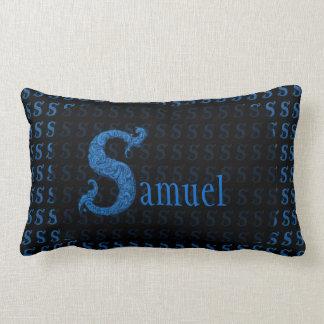 S - The Falck Alphabet (Blue) Throw Pillows