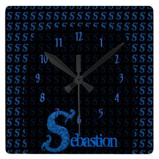 S - The Falck Alphabet (Blue) Square Wall Clock