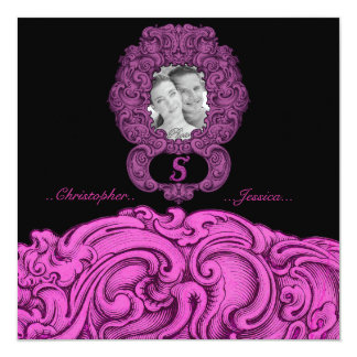 S - The Falck Alphabet (Pink ) (Wedding) 5.25x5.25 Square Paper Invitation Card