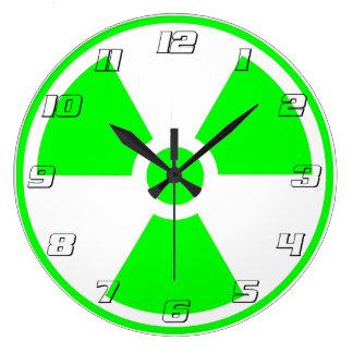 #s verdes y blancos del símbolo radiactivo de la r reloj redondo grande
