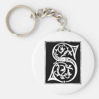 S vintage initial print keychain