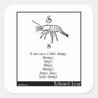S was once a little shrimp square sticker