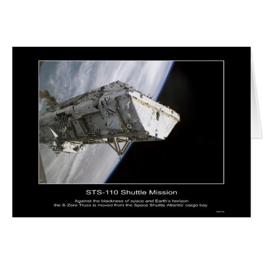 S-Zero Truss is moved from the Space Shuttle Atlan Card