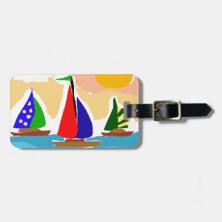 SA- Colorful Sailboat Primitive Art Bag Tag