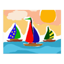 SA- Colorful Sailboat Primitive Art Postcard