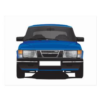 Saab 900 turbo (blue) postcard