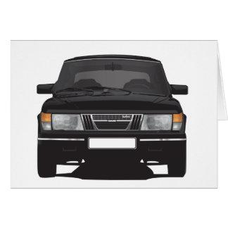 Saab 900 turbo (negro) tarjeta de felicitación