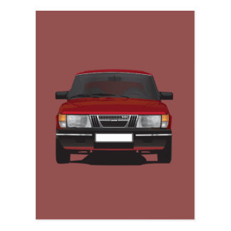 Saab 900 turbo (red) postcard