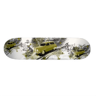 Saab-95 goes to heaven - pea green skateboard deck