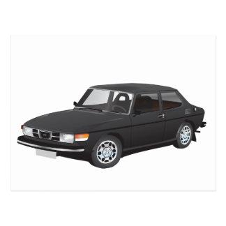 Saab 99 black postcard
