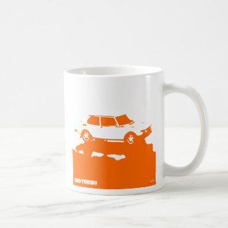 Saab 99 Turbo mug - Orange on white
