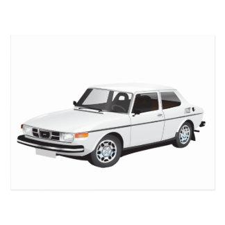 Saab 99 white postcard