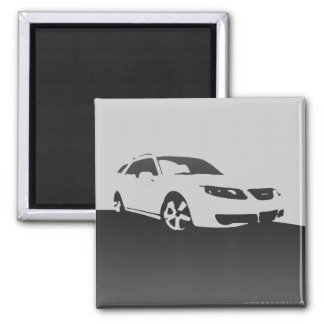 Saab 9-5 Aero front - Charcoal on light background Magnet