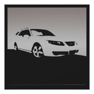 Saab 9-5 Aero front - Gray on charcoal background Poster
