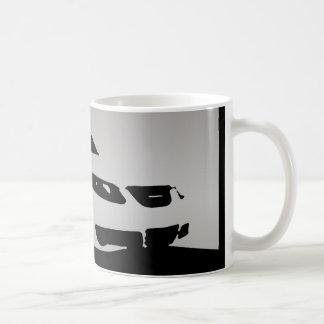 Saab 9-5 Aero front - Gray on dark background Coffee Mug