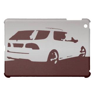 Saab 9-5 Aero rear - Gray on dark background iPad Mini Cases