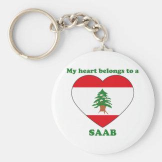 Saab Basic Round Button Keychain