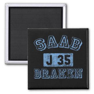 Saab Draken - AZUL Imán Cuadrado