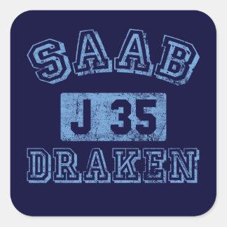 Saab Draken - AZUL Pegatina Cuadrada