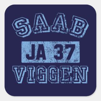 Saab Viggen - AZUL Pegatina Cuadrada