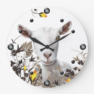 Saanen Dairy  Goat Painting Floral  Wall Clock