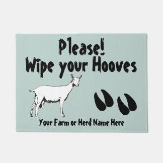 Saanen Dairy Goat Wipe your Hooves CHOOSE COLOR Doormat