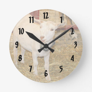 Saanen doeling goat mouth open round clock