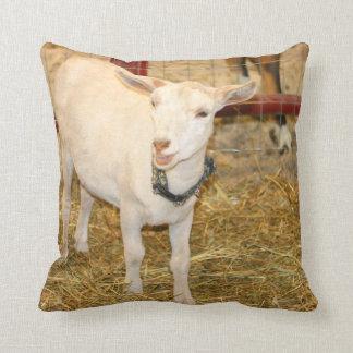 Saanen doeling goat mouth open throw pillow