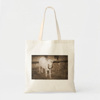 Saanen doeling sepia goat mouth open tote bag