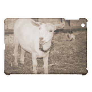 Saanen doeling sepia goat mouth open iPad mini case