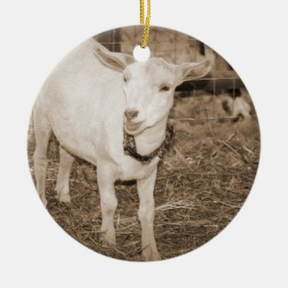 Saanen doeling sepia goat mouth open christmas ornaments