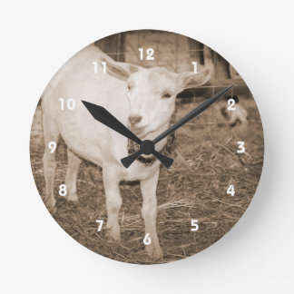 Saanen doeling sepia goat mouth open round clock