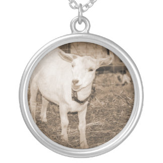 Saanen doeling sepia goat mouth open round pendant necklace