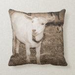 Saanen doeling sepia goat mouth open throw pillows