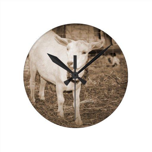 Saanen doeling sepia goat mouth open wall clock