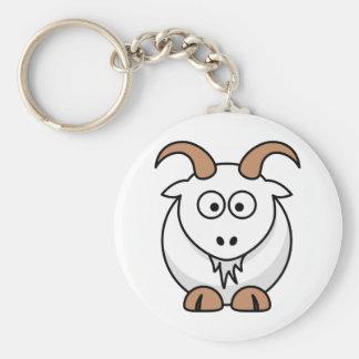 Saanen Goat Basic Round Button Keychain