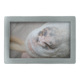 saanen goat nose sparkle abstract rectangular belt buckles