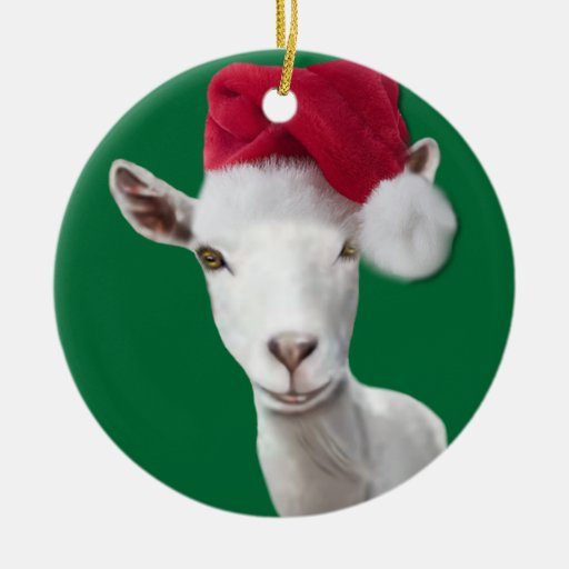 Saanen Goat Santa Hat Christmas Ornament