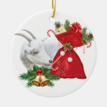 Saanen Goat With Holiday Spirit Double-Sided Ceramic Round Christmas Ornament