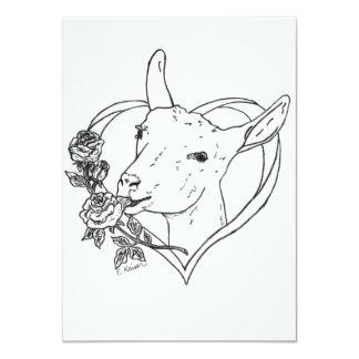 Saanen Head in Heart 4.5x6.25 Paper Invitation Card