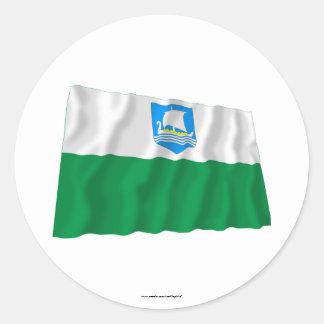 Saare Waving Flag Classic Round Sticker