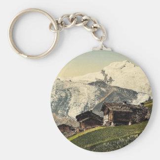 Saas Fee, alpine view, Valais, Alps of, Switzerlan Basic Round Button Keychain