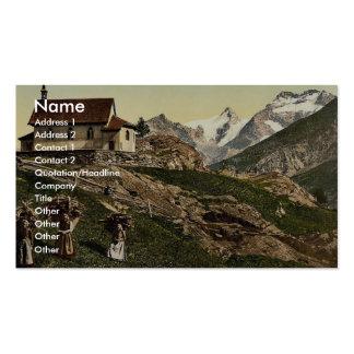 Saas Fee church and Rimpfischhorn Valais Alps o Business Card Templates