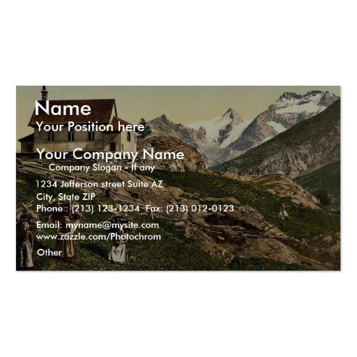 Saas Fee, church and Rimpfischhorn, Valais, Alps o Double-Sided Standard Business Cards (Pack Of 100)