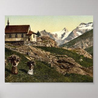 Saas Fee church and Rimpfischhorn Valais Alps o Posters