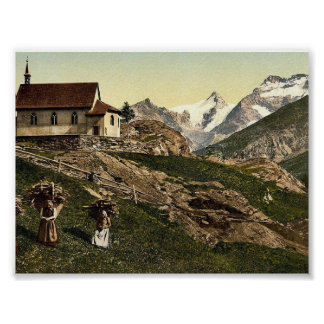 Saas Fee, church and Rimpfischhorn, Valais, Alps o Poster