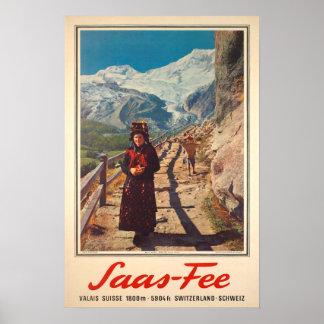 Saas Fee,Valais, Switzerland, Ski Poster