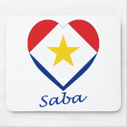 Saba Flag Heart Mouse Pad