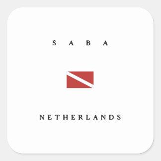 Saba Netherlands Scuba Dive Flag Square Sticker